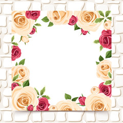 Card with red and white roses on a stone wall. Vector eps-10.