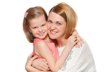 Happy mother and daughter hugging, isolated on white background.