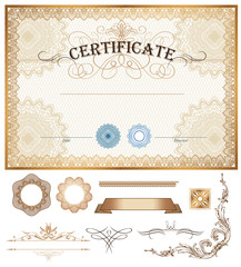 Certificate or coupon template with vintage border and