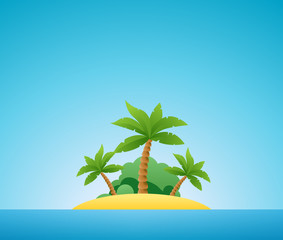 Tropical Island, Vector Nature Landscape Illustration