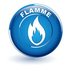 flamme sur bouton bleu