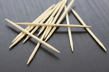 Pile of wooden toothpicks