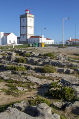 View of the cape Carvoeiro lighthouse of Peniche, Portugal.
