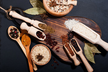 Different types of rice and spices