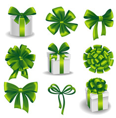 Set of green gift bows with ribbons.