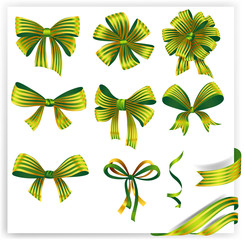 Set of green striped gift bows with ribbons.