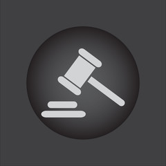 Hammer judge icon. gavel law legal hammer. Black button
