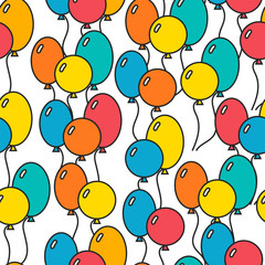 Seamless, holiday background with balloons