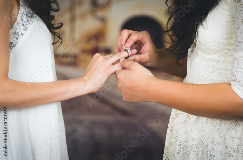 portrait of beautiful lesbian couple wedding - 79403929
