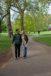 tourists walking in London park