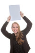 happy woman holding blank paper