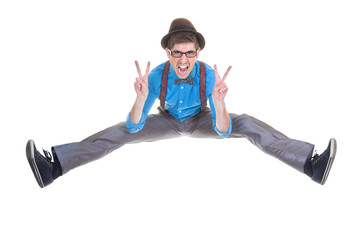 goofy, nerd geek jumping with v sign