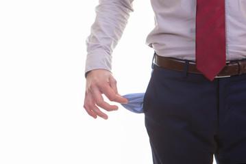empty pockets for recession, bankrupt, or crisis