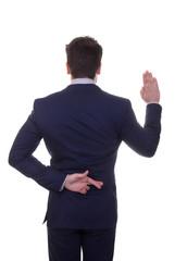 untrustworthy, lying, business man fingers crossed