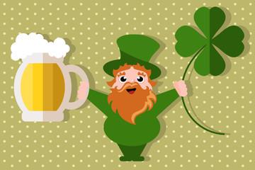 leprechaun golding beer and shamrock