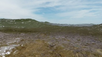 Waves on a sand beach Lake Michigan waterfront