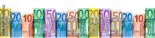 Leinwandbild Motiv Euro Geldscheine als Hintergrund