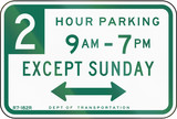 Two Hour Parking Except Sunday poster
