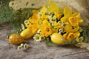 Easter eggs flowers spring