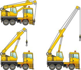 Cranes. Heavy construction machines. Vector illustration