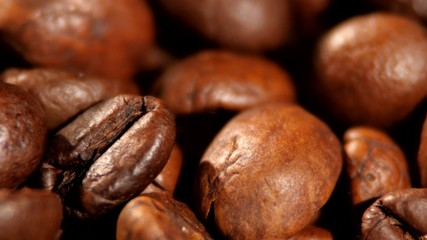 Top of brown roasted coffee beans