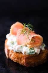 Canape with smoked salmon and cream cheese