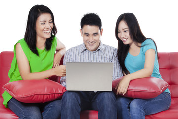 Asian people surfing on internet online