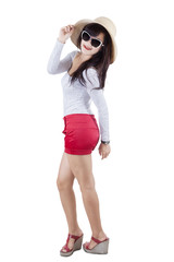 Beautiful model with casual clothes in studio