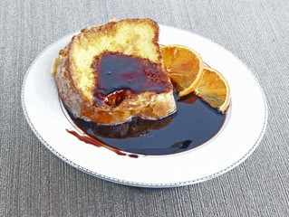 French toast with eggs and cherry juice