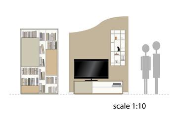 Furniture. Design living room. Interior furniture. Scale 1:10