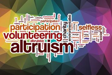 Altruism word cloud with abstract background