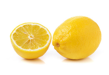 Fresh lemon on white background