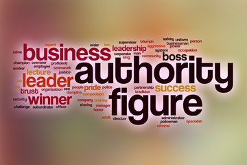 Authority figure word cloud with abstract background