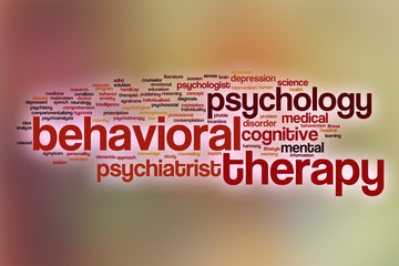 Behavioral therapy word cloud with abstract background