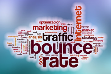 Bounce rate word cloud with abstract background