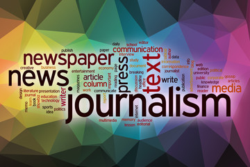 Journalism word cloud with abstract background