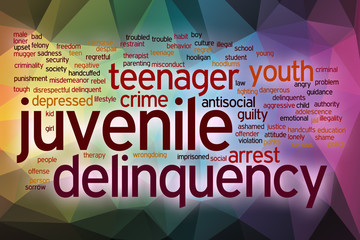 Juvenile delinquency word cloud with abstract background