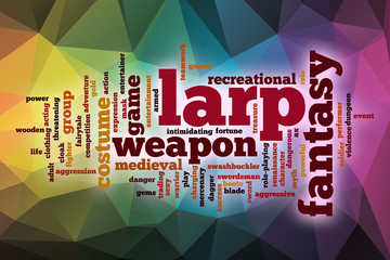 LARP word cloud with abstract background
