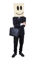 Confident person with a carton head isolated