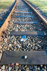 Railways with pebbles and sleepers from close