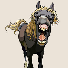funny horse neighs wide open mouth