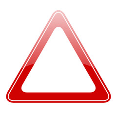 Blank triangle warning sign