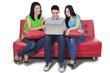 Happy teenager browsing internet online