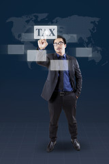 Man with tax word on the modern interface