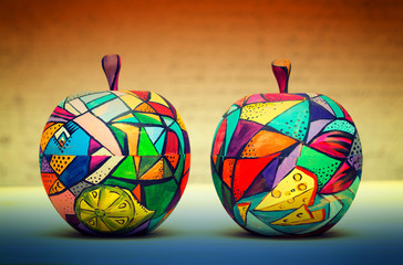 Two decorative apple, made of wood and painted by hand paints