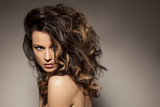marvelous beautiful brunette posing in the studio - hair styling - 79410176