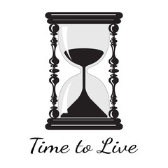 Vector  time to live. Vintage hourglass