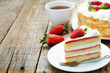 cake with cream and strawberries - 79410954