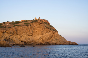 Cliff at cape Sounio and the temple of Poseidon, Greece