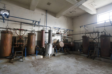 Old distillation tanks for aguardiente